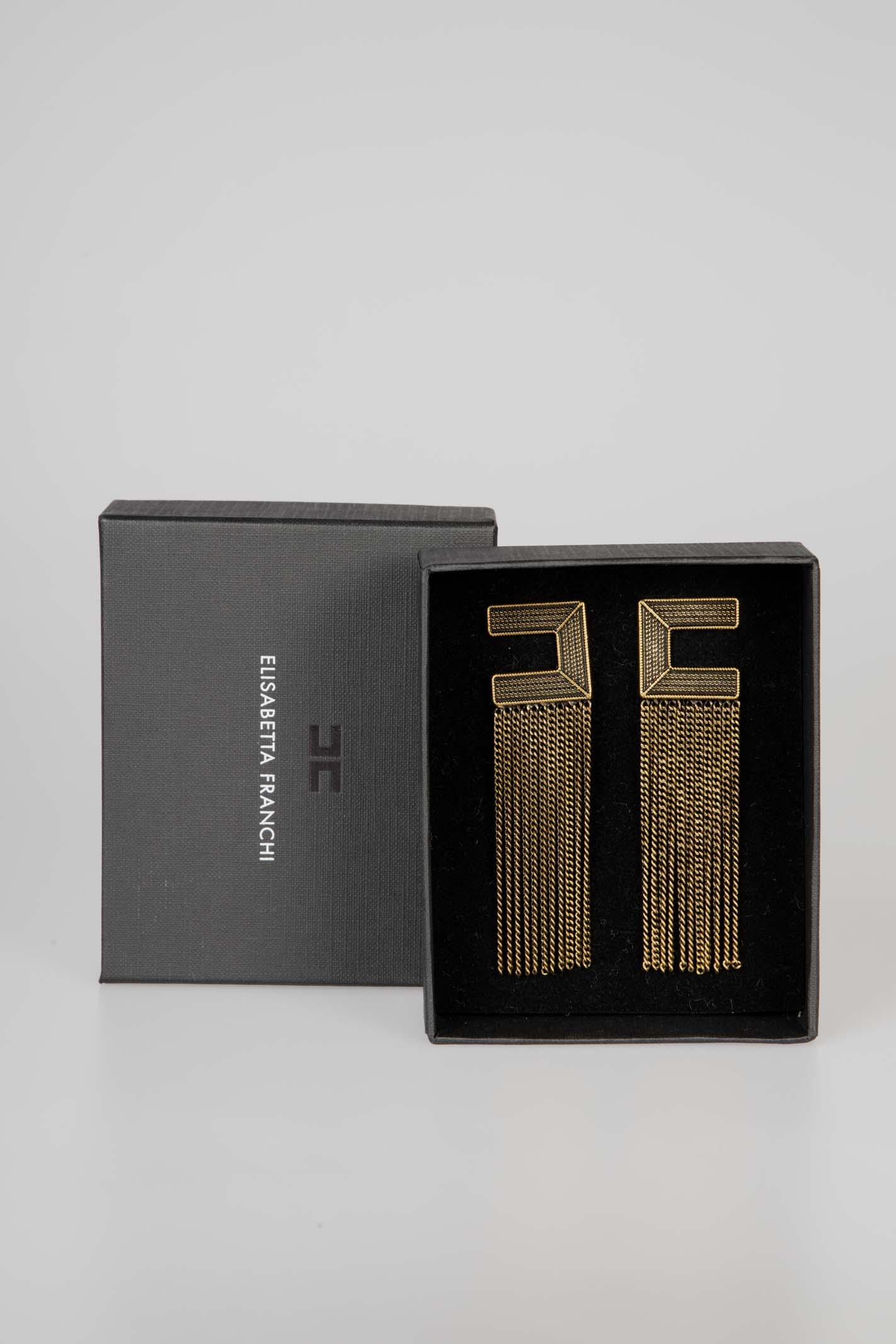Orecchini logo con frange in oro invecchiato ELISABETTA FRANCHI   Orecchini   OR63A06E2028