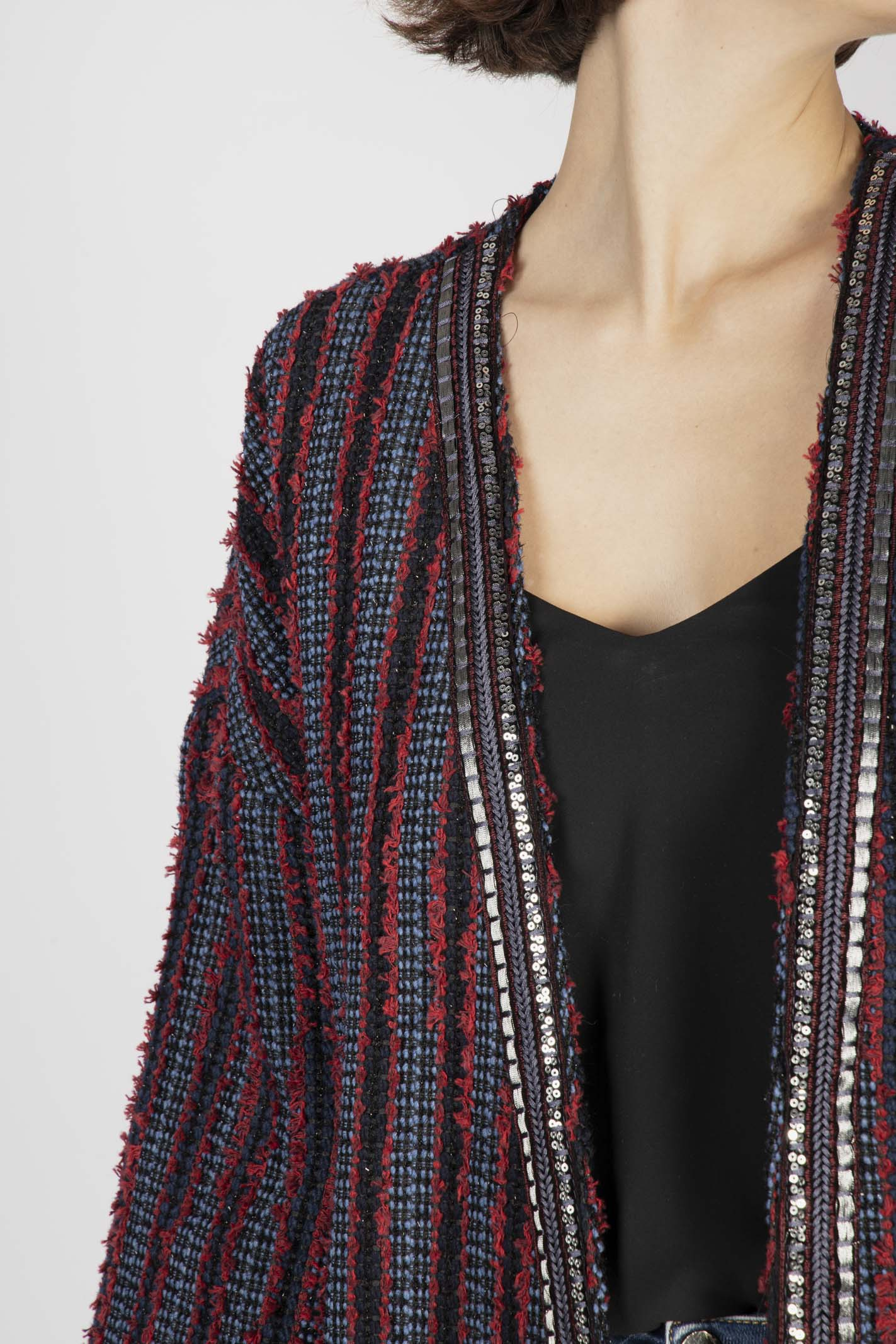 Cappotto Kimono Rosso E Blue VICOLO | Cappotto | TW0677ROSSO/BLU