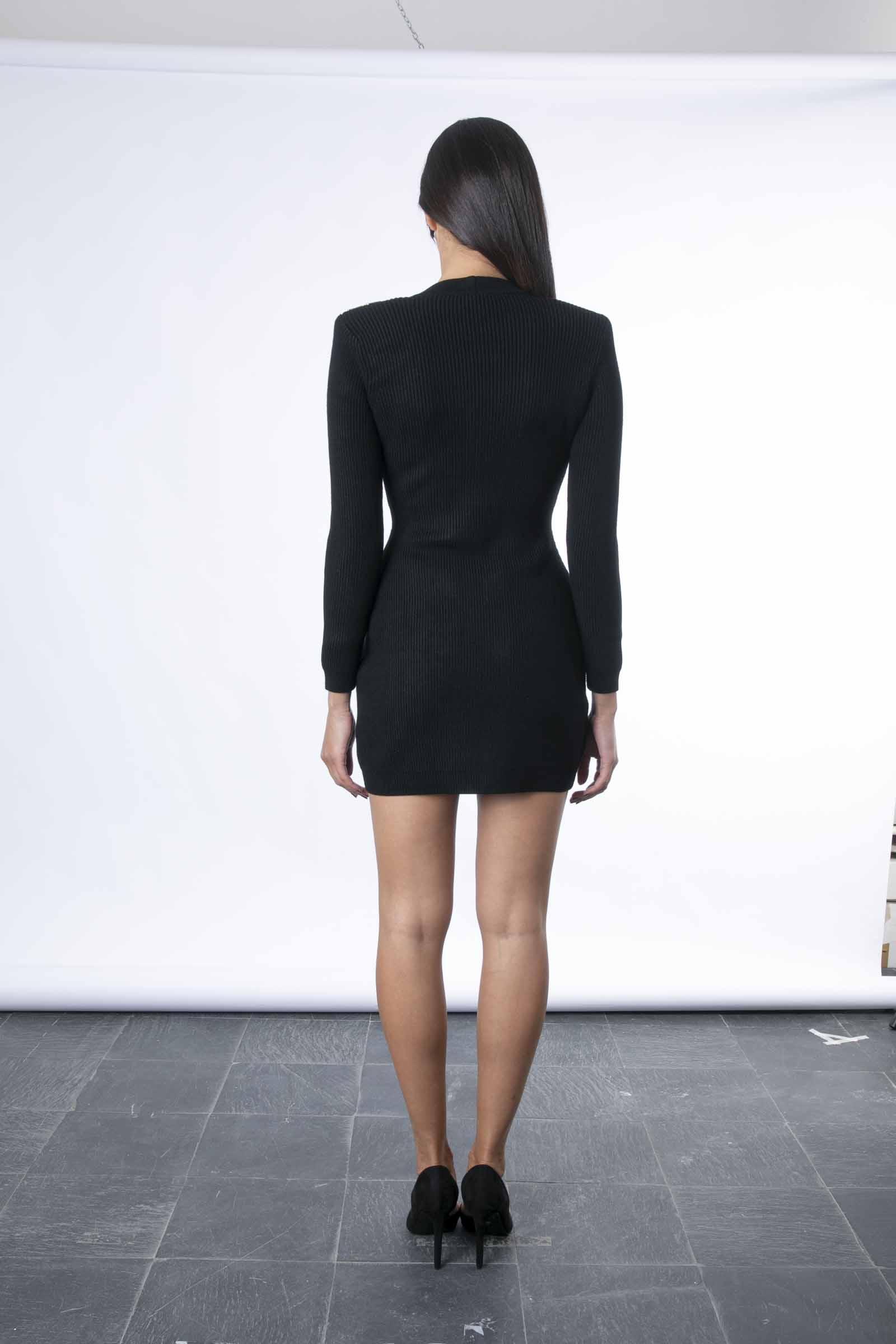 Robe manteau in maglia con dettagli oro ELISABETTA FRANCHI | Abito | AM41S16E2110