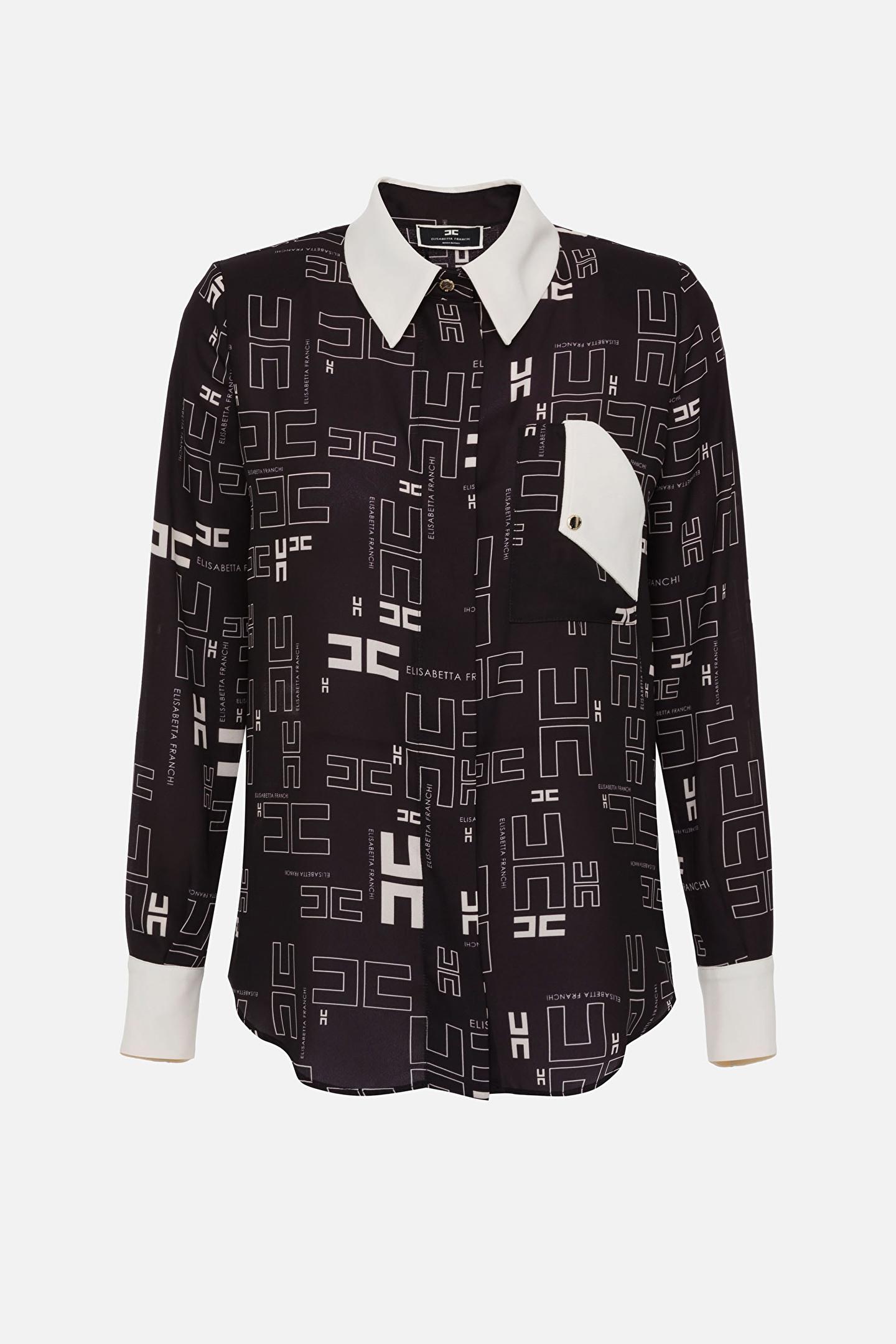 Camicia in georgette con con stampa logo bicolor ELISABETTA FRANCHI   Camicia   CA33216E2685