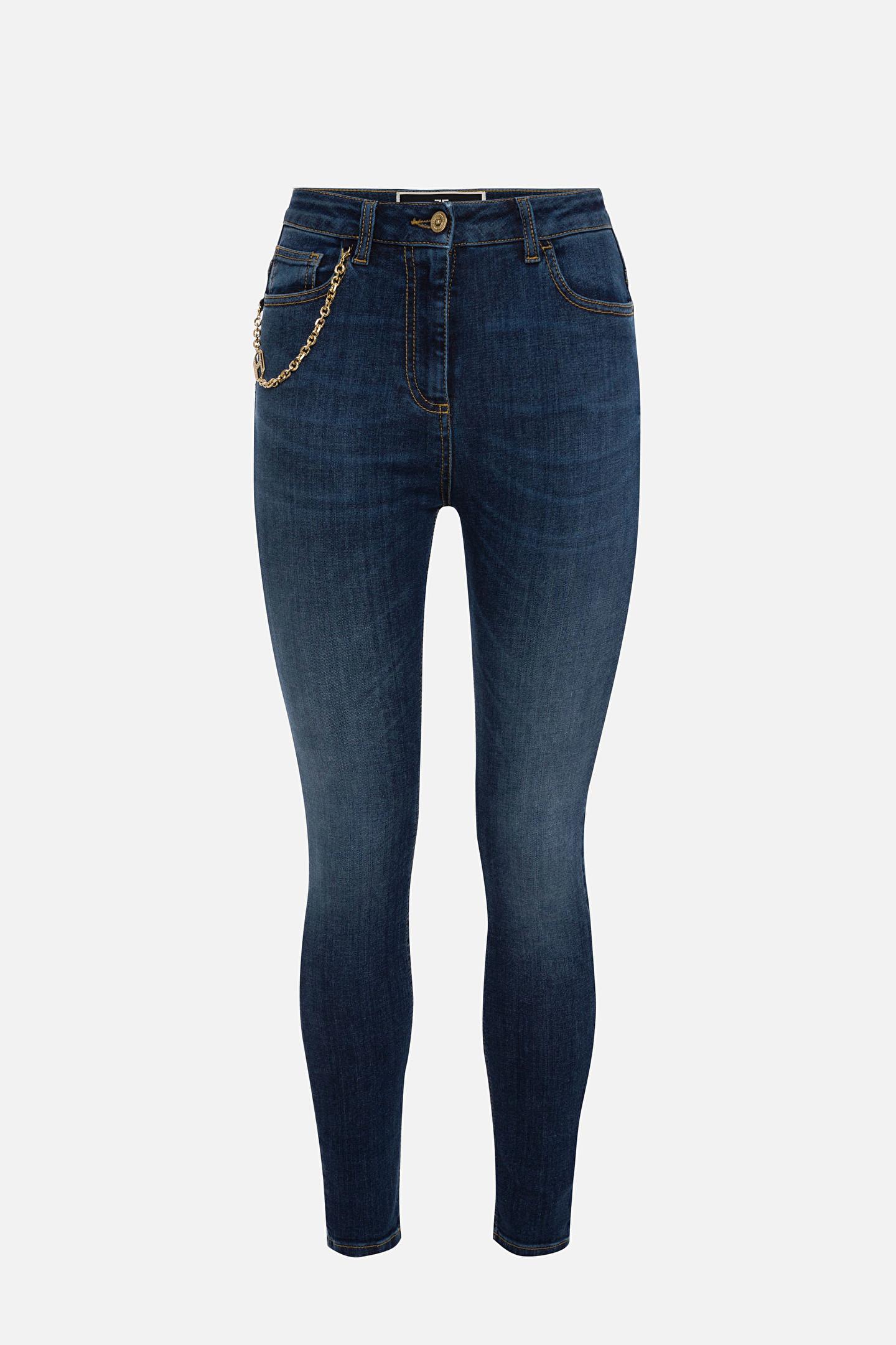 Jeans con accessorio pendente ELISABETTA FRANCHI | Pantaloni | PJ21S16E2139