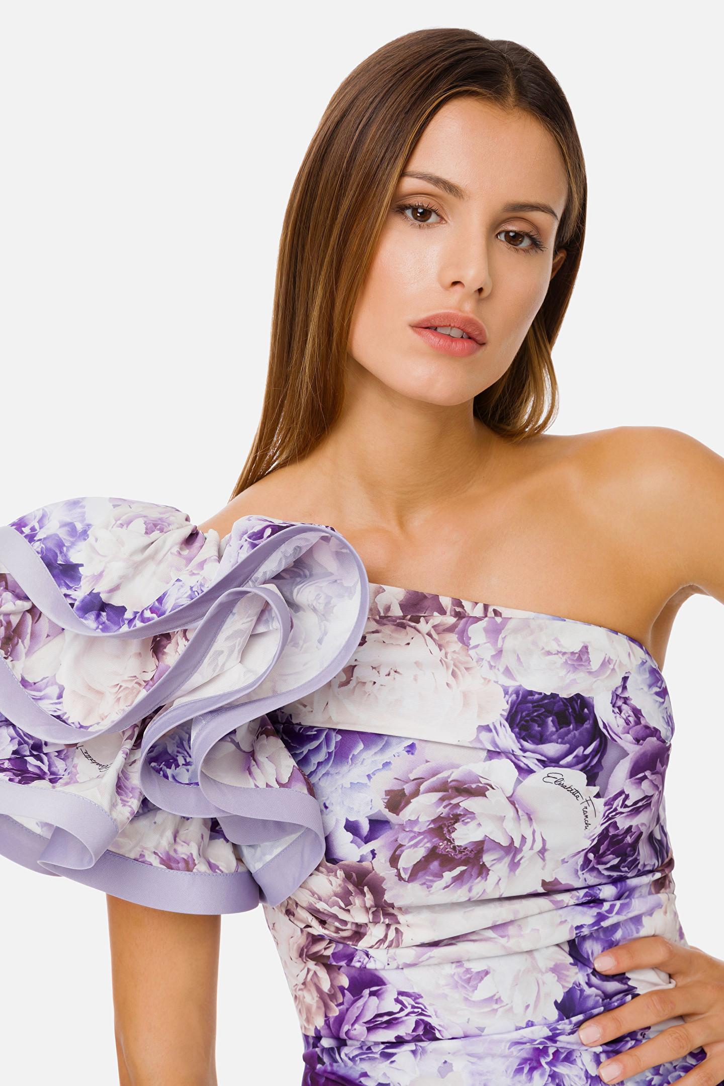 Mini abito in stampa peonie ELISABETTA FRANCHI | Abito | AB03111E2Q38