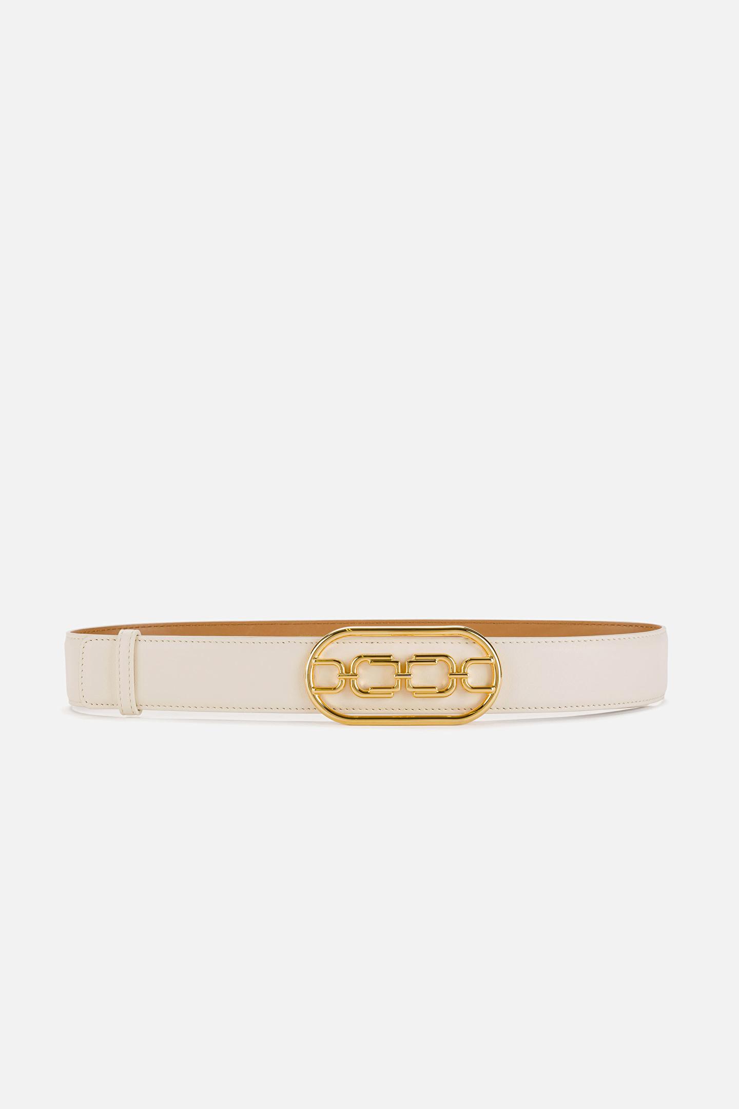 Cintura vita alta con logo light gold Elisabetta Franchi ELISABETTA FRANCHI | Cintura | CT03S11E2193
