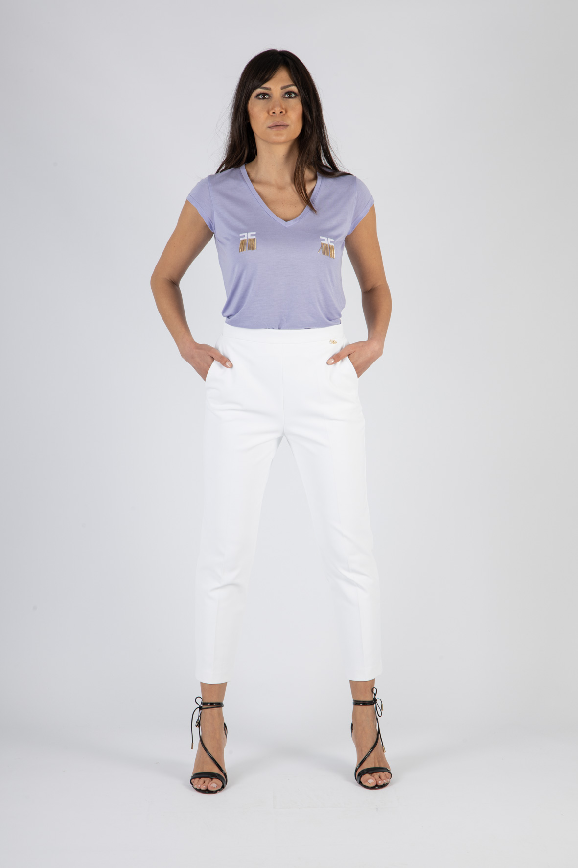 T-shirt manica corta con logo e micro catene ELISABETTA FRANCHI | T-shirt | MA19711E2Q38