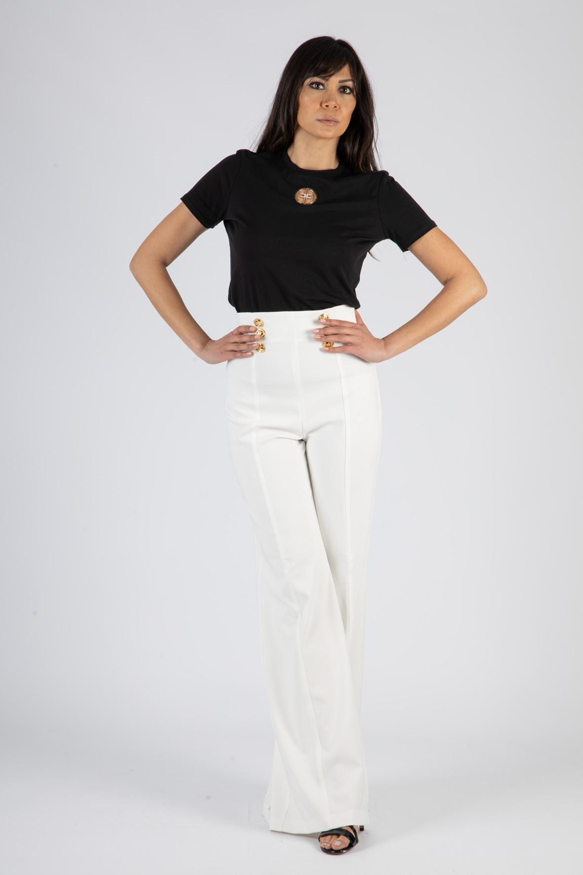 T-shirt Elisabetta Franchi con logo in strass ricamato ELISABETTA FRANCHI   T-shirt   MA25N11E2110
