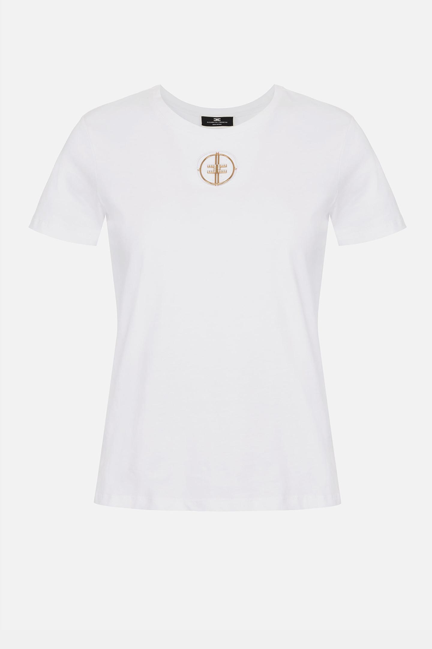 T-shirt Elisabetta Franchi con logo in strass ricamato ELISABETTA FRANCHI | T-shirt | MA25N11E2270