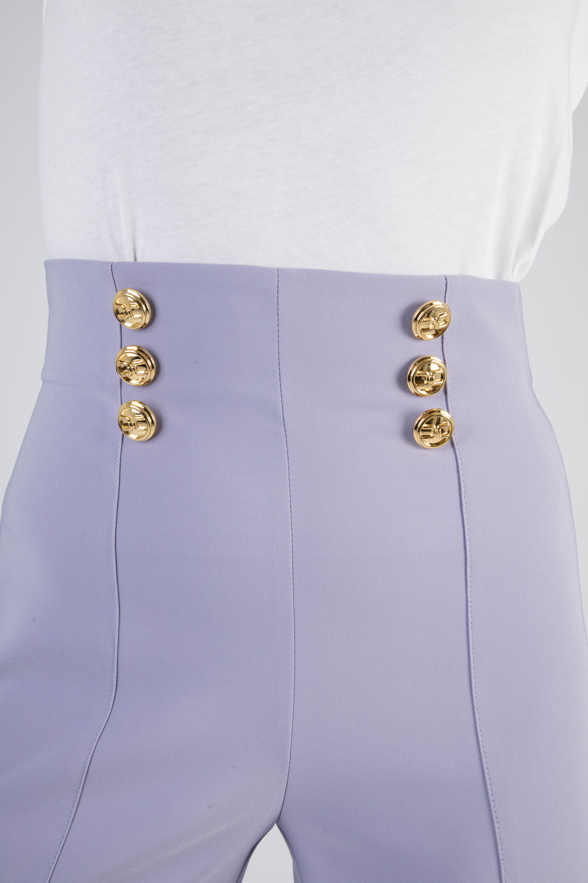 Pantalone a palazzo con bottoni logati oro ELISABETTA FRANCHI | Pantaloni | PA38311E2Q38