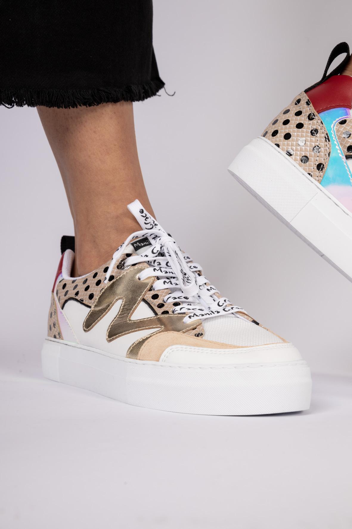 SNEAKER CAPSOLE EXTRALIGHT CON PATCH E MIX DI MATERIALI Manila Grace | Sneakers | S655LPMA100