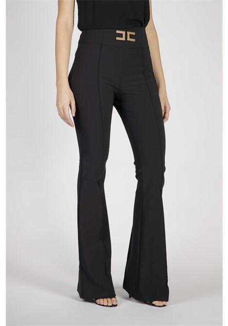 Pantalone a zampa con ricamo logo ELISABETTA FRANCHI   Pantaloni   PA35806E2110