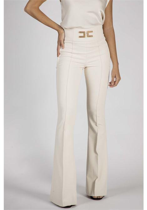 Pantalone a zampa con ricamo logo ELISABETTA FRANCHI   Pantaloni   PA35806E2193