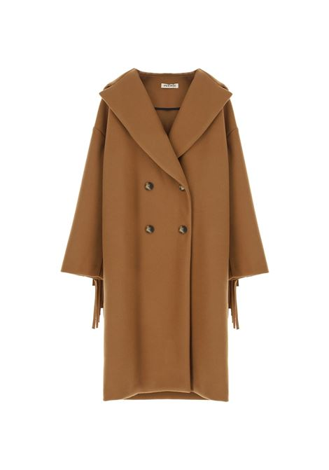Cappotto doppiopetto con cappuccio e frange PLEASE | Cappotto | K493GLIPA1804