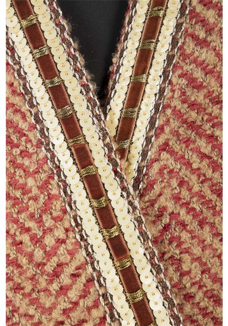 Cappotto Kimono Con Cintura VICOLO | Cappotto | TW0937BEIGE/ROSSO