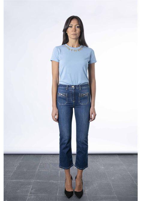 Jeans mini flare con staffa oro ELISABETTA FRANCHI | Pantaloni | PJ17S16E2139