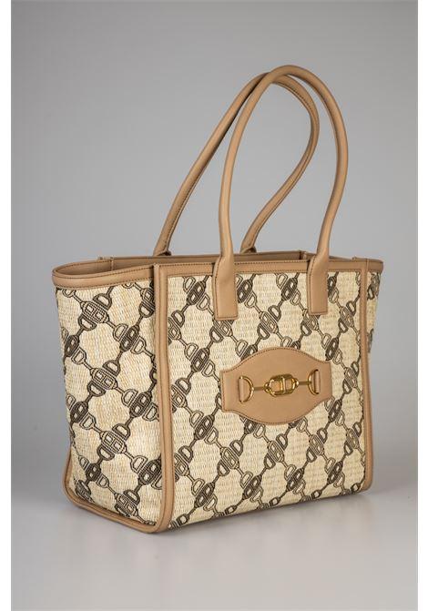 Maxi tote bag jaquard con stampa morsetto ELISABETTA FRANCHI | Borsa | BS32A11E2390