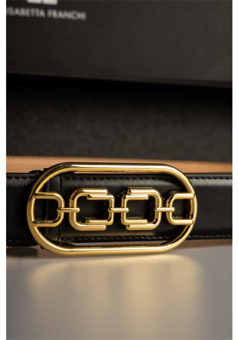 Cintura vita alta con logo light gold Elisabetta Franchi ELISABETTA FRANCHI | Cintura | CT03S11E2110