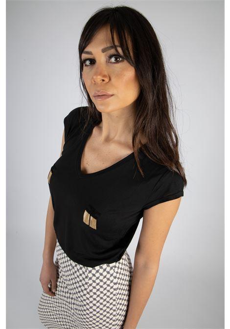 T-shirt manica corta con logo e micro catene ELISABETTA FRANCHI | T-shirt | MA19711E2110