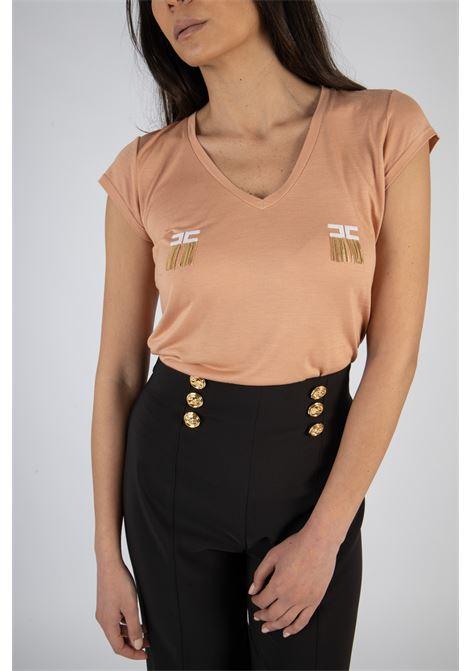 T-shirt manica corta con logo e micro catene ELISABETTA FRANCHI | T-shirt | MA19711E2W71