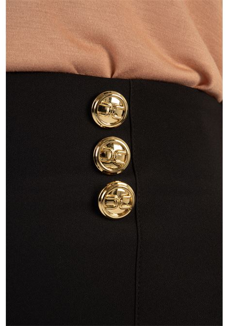 Pantalone a palazzo con bottoni logati oro ELISABETTA FRANCHI | Pantaloni | PA38311E2110
