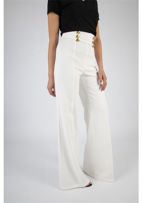 Pantalone a palazzo con bottoni logati oro ELISABETTA FRANCHI | Pantaloni | PA38311E2360