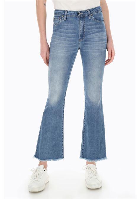 Jeans kick flare cropped con orlo grezzo PLEASE | Pantaloni | P27RBQ2PTU1670