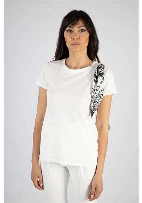 T-shirt con Foulard su Spalla VICOLO | T-shirt | RH0488BIANCO/NERO
