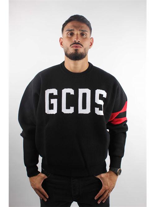 maglia lana logo contrasto e bande sulla manica a contrasto GCDS | Maglia | 2115102