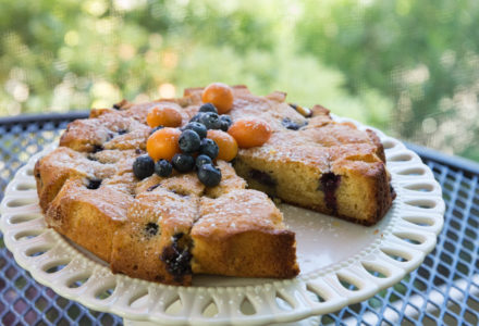 Rustic blueberry cake for afternoon tea