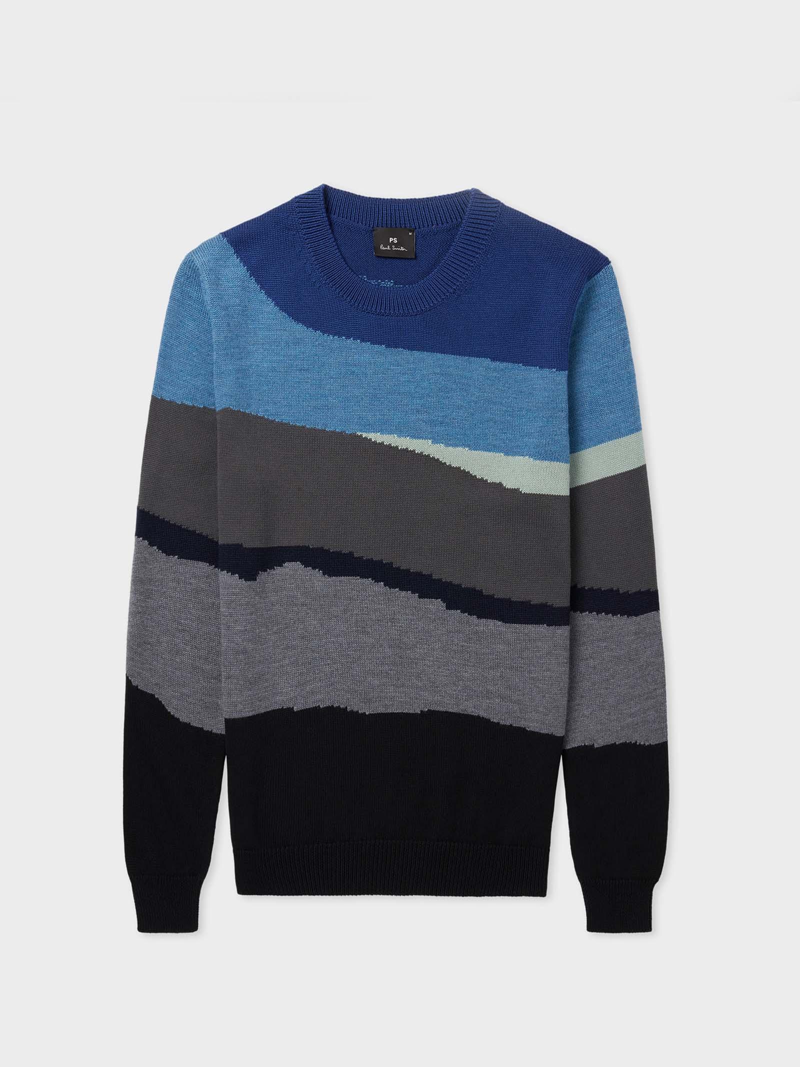 Maglione da uomo in lana e cotone a righe astratte blu PAUL SMITH | Maglia | M2R-838U-G2132545