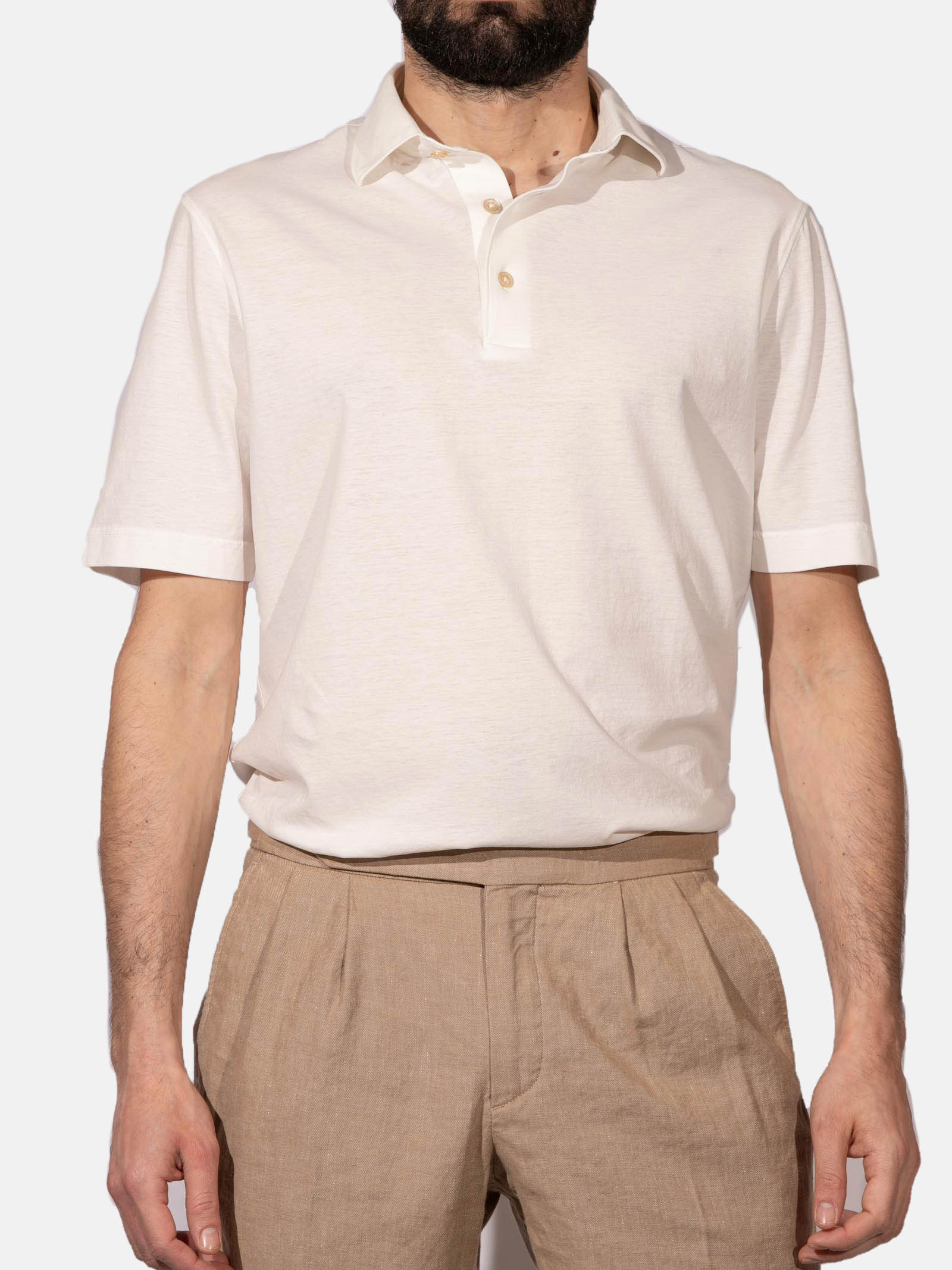 Polo con manica corta in jersey crêpe LARDINI | Polo | ELLPMC14/EL56022100