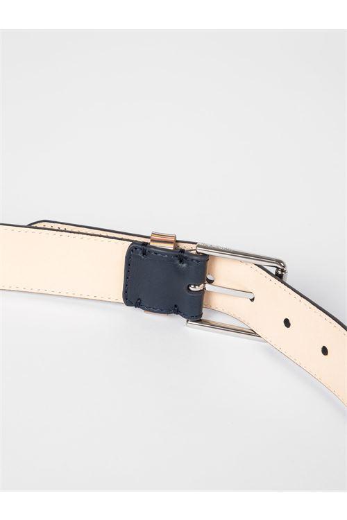 Cintura da uomo in pelle nera con passante firma a righe PAUL SMITH | Cintura | M1A-4950-AMULKB48