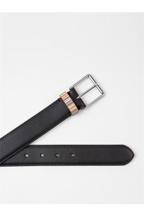 Cintura da uomo in pelle nera con passante firma a righe PAUL SMITH | Cintura | M1A-4950-AMULKB79