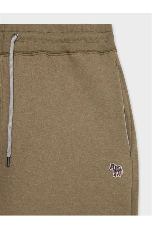 Pantaloni della tuta da uomo in cotone con logo zebrato color kaki mélange PAUL SMITH | Pantalone | M2R-421RZ-G2111635A
