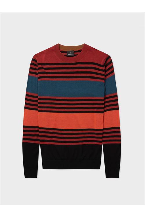 Maglione in lana merino multirighe rosso da uomo PAUL SMITH | Maglia | M2R-826U-G2132026