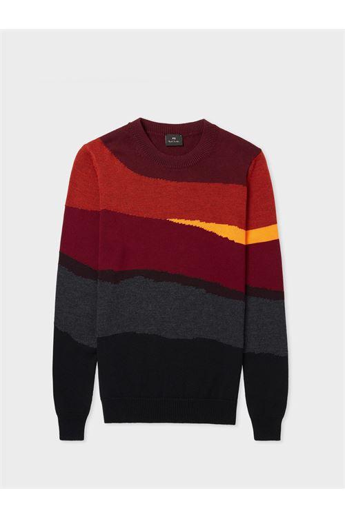 Maglione da uomo in lana e cotone a righe astratte rosse PAUL SMITH | Maglia | M2R-838U-G2132526