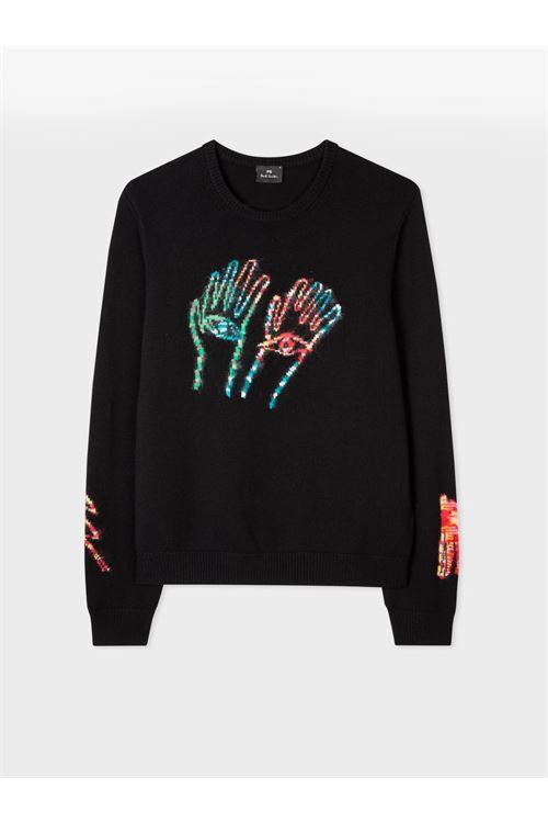 Maglione da uomo in cotone merino nero 'Space-Dye Hands' PAUL SMITH | Maglia | M2R-855U-G2139579