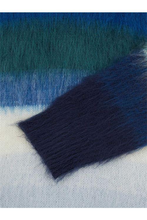 Maglione da uomo in misto mohair a righe sfumate blu PAUL SMITH | Maglia | M2R-856U-G2139838