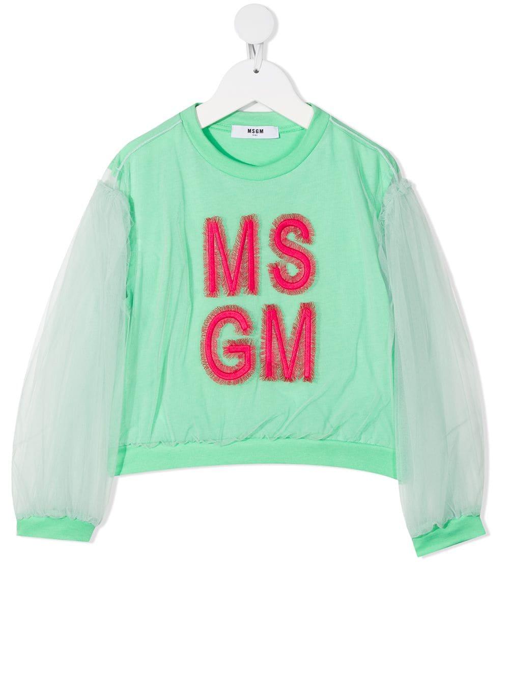 maglia verde MSGM kids   T-shirt   MS026854087#
