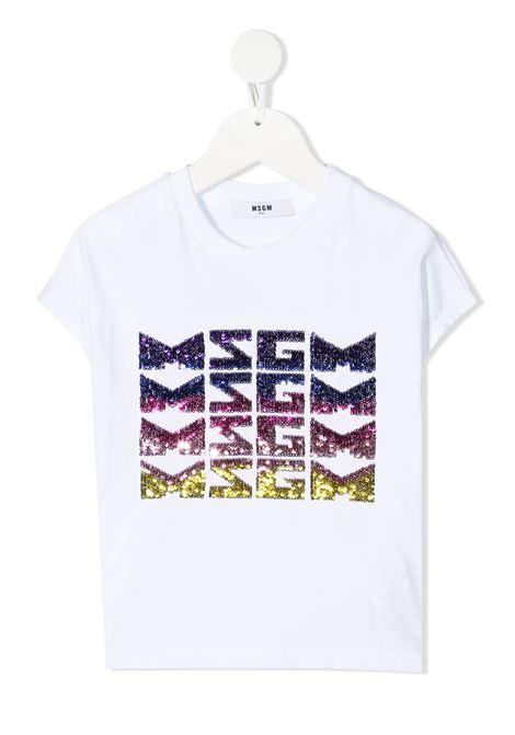 maglia bianca MSGM kids | T-shirt | MS026894001#