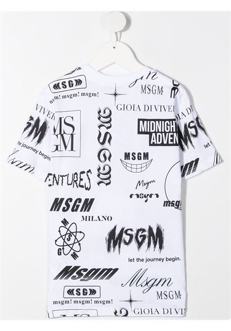 maglia bianca MSGM kids | T-shirt | MS027635001#