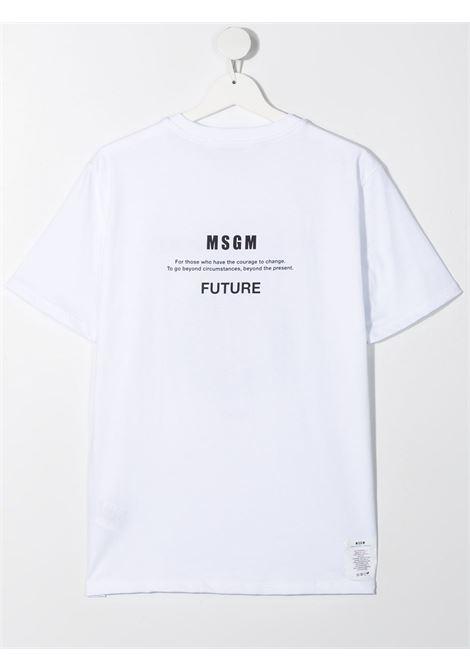 maglia bianca MSGM kids | T-shirt | MS027665001##