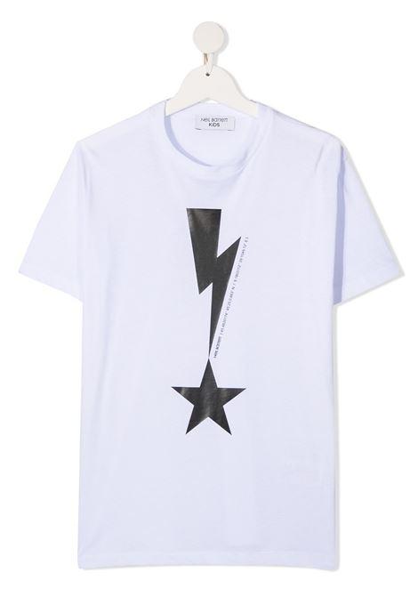 maglia bianca NEIL BARRETT KIDS | T-shirt | 027867001##