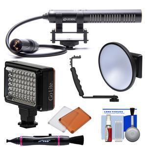 Azden SGM-PDII XLR Mini Shotgun Microphone with LED Flash/Video Light +  Diffuser + Kit