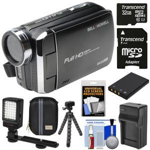 Bell & Howell DV30HD 1080p HD Video Camera Camcorder (Black) with 32GB Card  + Battery & Charger + Case + Flex Tripod + LED Video Light + Kit