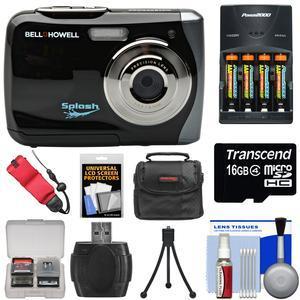 Bell & Howell Splash WP7 Waterproof Digital Camera (Black) with Batteries &  Charger + 16GB Card + Case + Kit