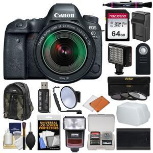 Canon EOS 6D Mark II Wi-Fi Digital SLR Camera & EF 24-105mm IS STM Lens  with 64GB Card + Backpack + Flash + Diffuser + Video Light + 3 UV/CPL/ND8