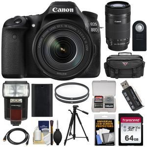Canon EOS 80D Wi-Fi Digital SLR Camera & EF-S 18-135mm IS USM Lens with  55-250mm IS STM Lens + 64GB Card + Battery + Case + Filters + Tripod +  Flash +