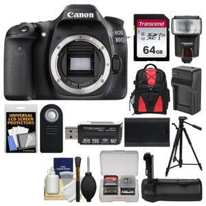 Canon EOS 80D Wi-Fi Digital SLR Camera Body with 64GB Card + Case + Flash +  Battery & Charger + Grip + Tripod + Remote Kit