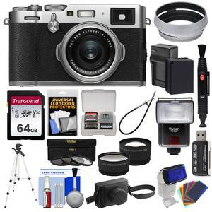 Fujifilm X100F Wi-Fi Digital Camera (Silver) with Leather Case + 64GB Card  + Battery & Charger + Tripod + Flash + Tele/Wide Lens Kit