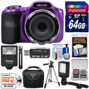 Minolta MN35Z 1080p 35x Zoom Wi-Fi Digital Camera (Purple) with 64GB Card +  Case + Flash + LED Video Light + Tripod + Kit