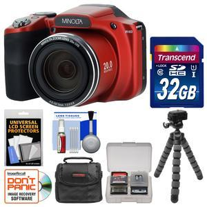 Minolta MN35Z 1080p 35x Zoom Wi-Fi Digital Camera (Red) with 32GB Card +  Case + Flex Tripod + Kit